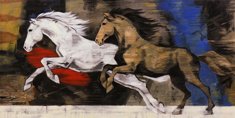 HORSE-143, Acrylic on canvas, Size-60x30