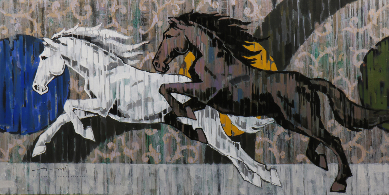 HORSE-157, Acrylic on canvas, Size-72x36