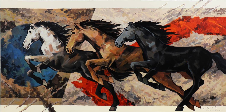HORSE-166, Acrylic on canvas, Size-96x48