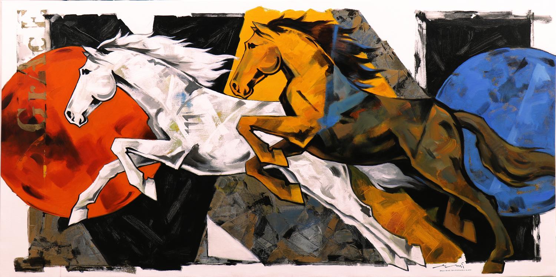 HORSE-172, Acrylic on canvas, Size-72x36