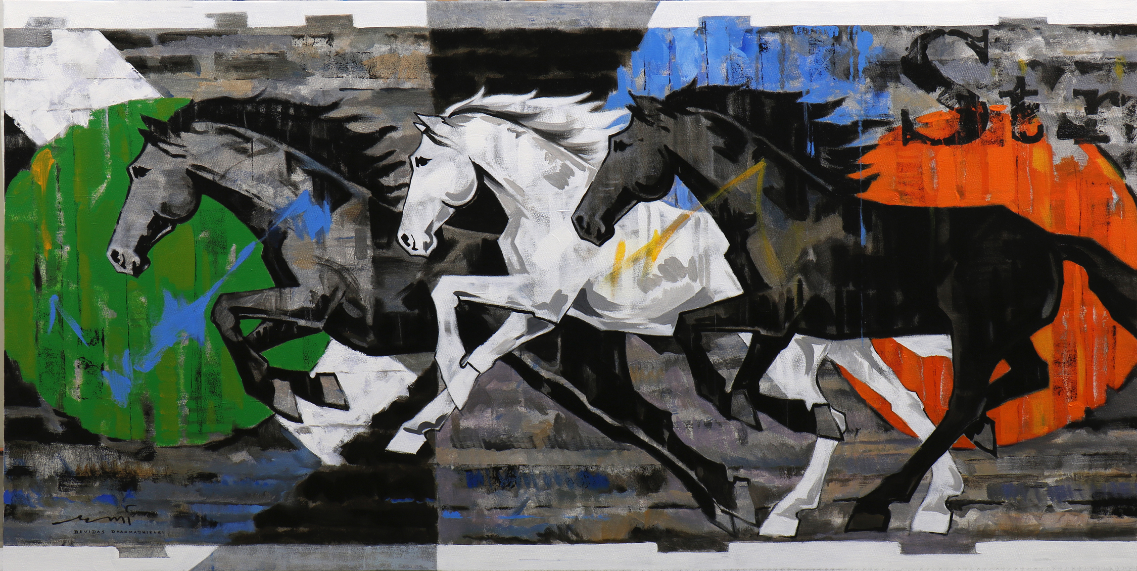 HORSE-173, Acrylic on canvas, Size- 72x36