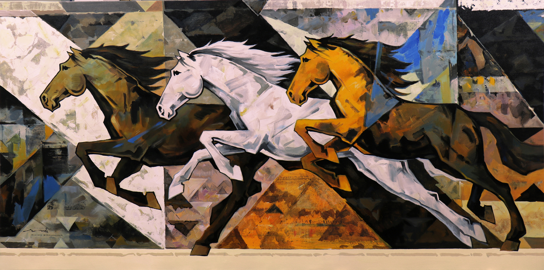 HORSE-178, Acrylic on canvas, Size- 96x48