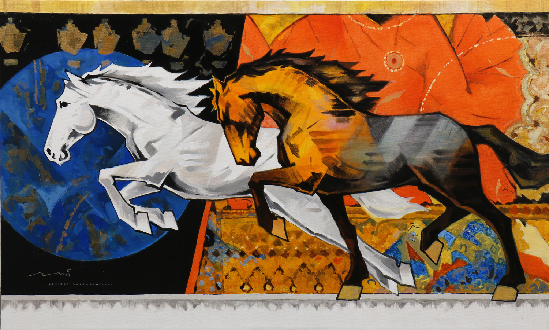 HORSE-180, Acrylic on canvas, Size- 60x36