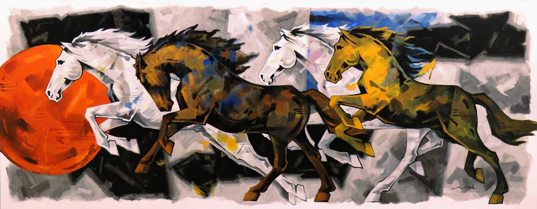 HORSE-187, Acrylic on canvas, Size-  138x54